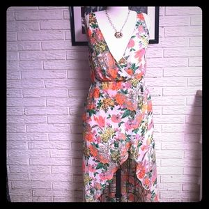 f8ed835c8681f0 ... Tropical floral faux wrap high low dress ...